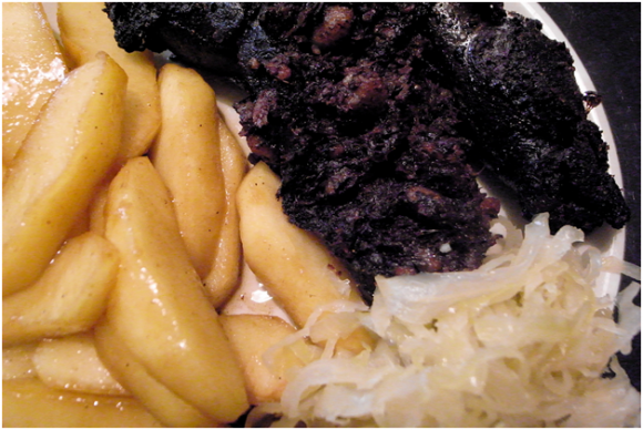 Boudin Noir with Caramelized Apples and Sauerkraut